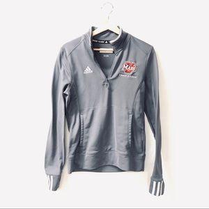 Adidas UMASS athletic half zip Thumbhole shirt